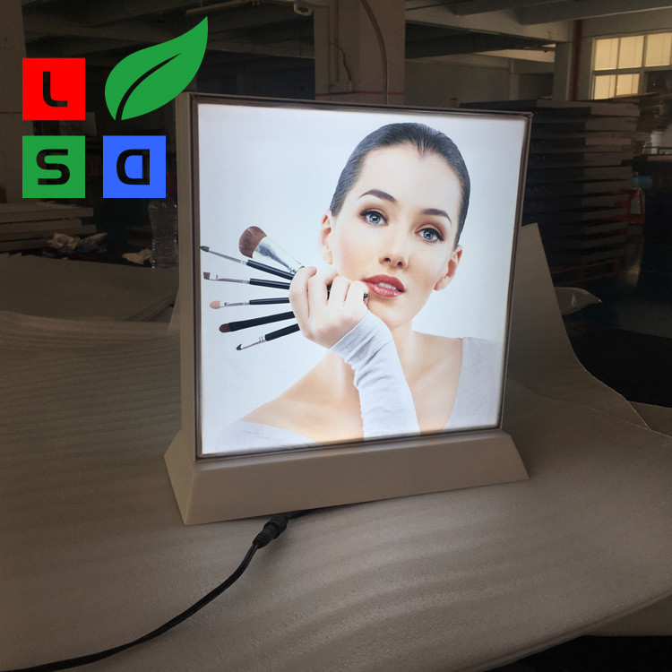 Double Side Desktop Light Box Picture Frame , LED Fabric Light Box Longlife